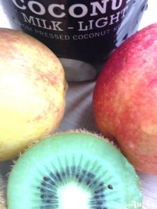 Friday: nectarine, kiwi, coconut milk