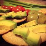 Cheese oat cracker and avocado