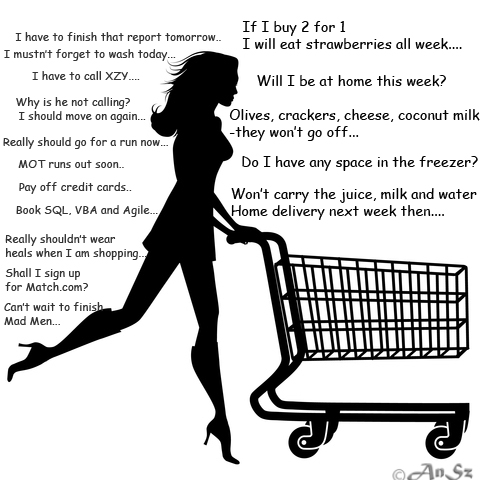 Single girl shopping